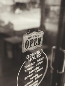 opening and closing hours