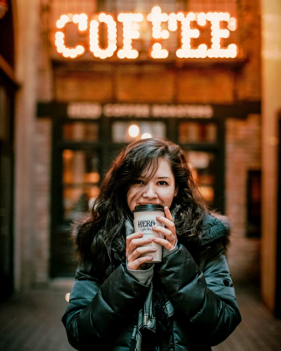 Girl with Reusable Coffee Cups