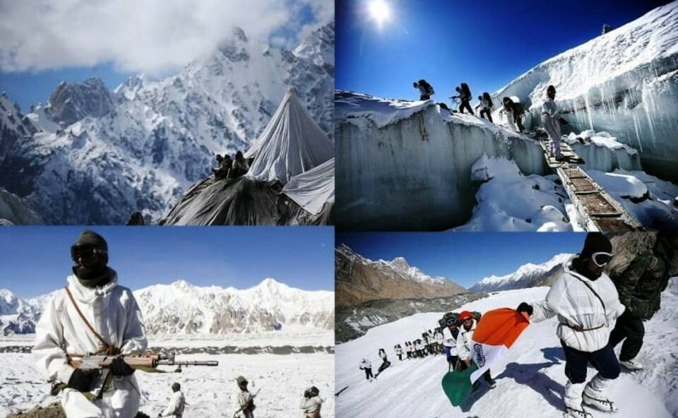 Indian Army Troops in Icy Winter