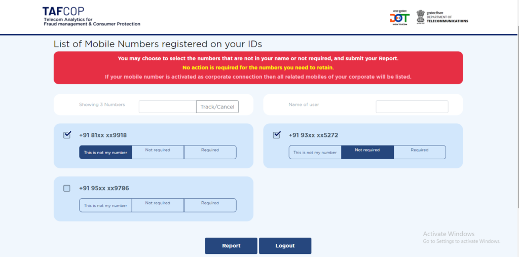 How to Report Unknown Mobile Numbers Appear in the List Registered with Your Aadhaar ID?